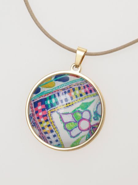 ZARI Pattern Glass Charm Necklace