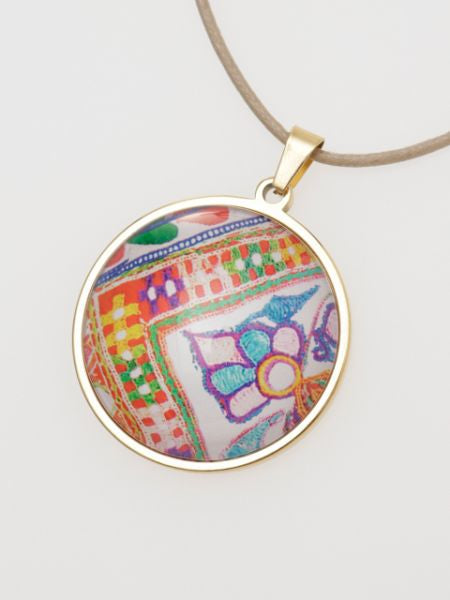 ZARI Pattern Glass Charm Necklace-Ametsuchi