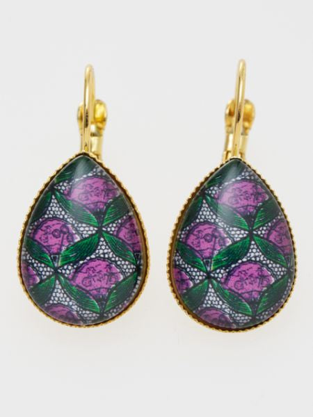 African Fabric Pattern Glass Earrings