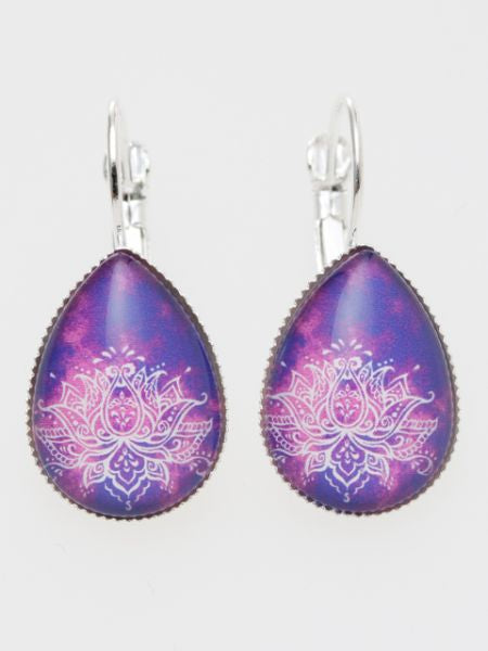 Gradient Lotus Drop Earrings-Ametsuchi