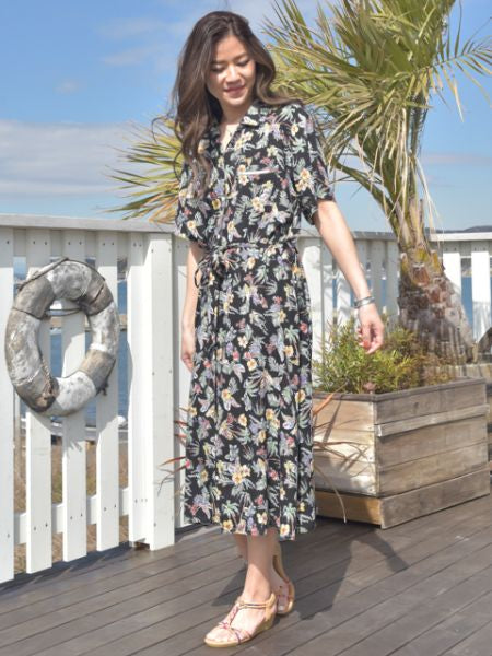 Botanical Pattern Hawaiian Shirt Dress