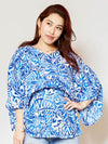 Hawaiian Pattern V Neckline Top-Ametsuchi