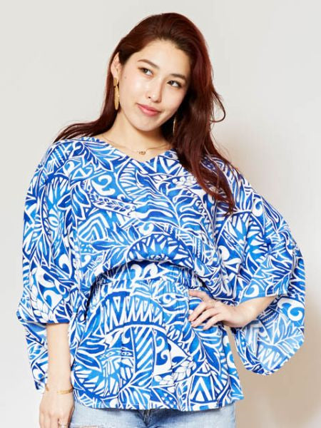 Hawaiian Pattern V Neckline Top