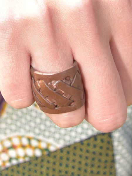 Faux Leather Braid Ring