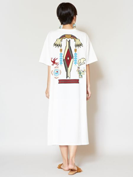 Native American Motif Print Midi Dress