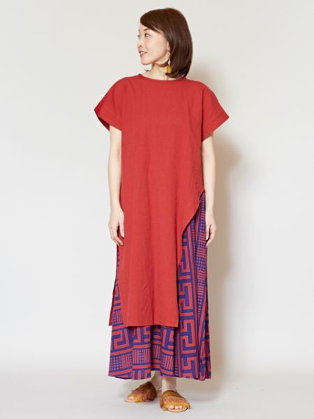 Polynesian GEOM Pattern Layered Dress -Dresses-Ametsuchi