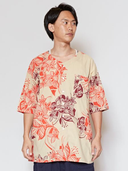 꽃의 Men's Collarless Shirt-Ametsuchi