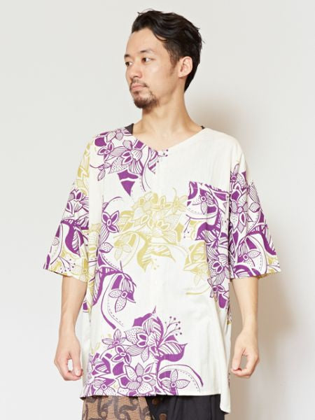 Floral Men's Collarless Shirt