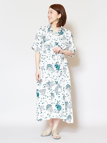 SENUFO Art Inspired Shirt Dress -Dresses-Ametsuchi