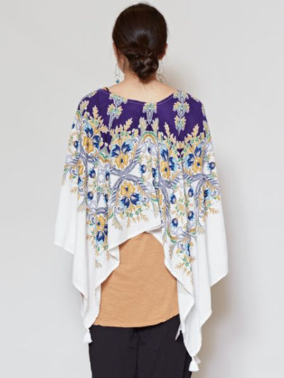 Oriental Flower Poncho Top x Plain Tank Set