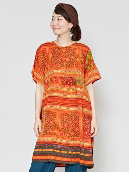 HMONG Inspired Pattern Tunic -Dresses-Ametsuchi