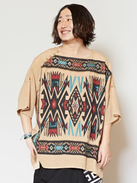 Navajo Pattern Print & Embroidery Top