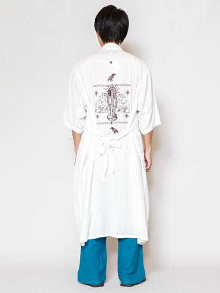Embroidered GUAYABERA Long Cardigan-Ametsuchi