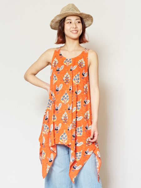 Peacock Print Sleeveless Tunic-Ametsuchi