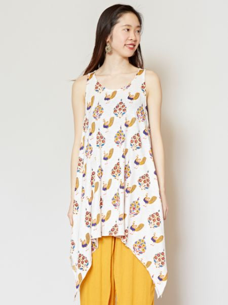 Peacock Print Sleeveless Tunic