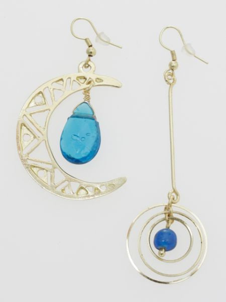 Moon Asymmetrical Earrings