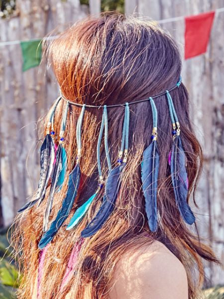 Bohemian Feather Hair Band-Hair Accessories-Ametsuchi
