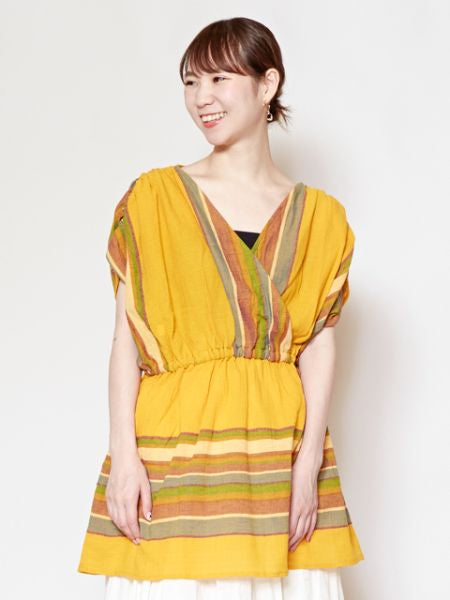 Southern Indian Cotton Crossover Top-Tops-Ametsuchi