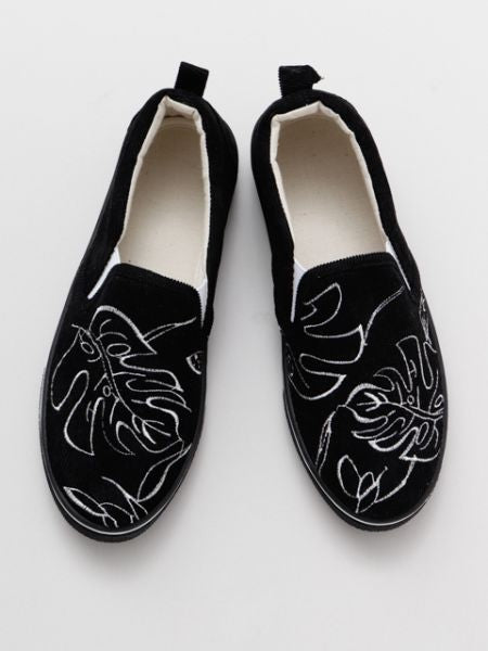 MONSTERA Embroidery Slip On Shoes