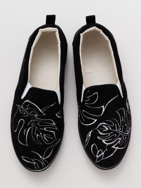MONSTERA Stickerei Slip On Schuhe