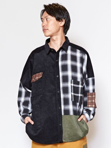 Men's Patchwork Shirt-Ametsuchi