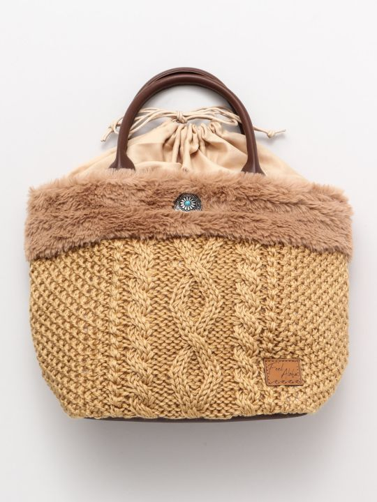 Cable Knit Hand Bag-Ametsuchi