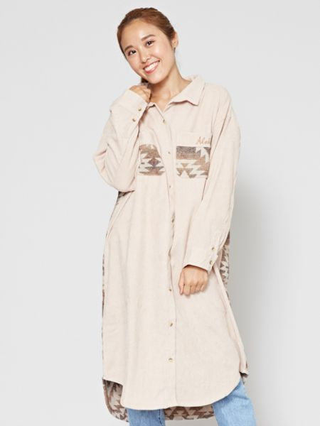 Navajo Pattern Corduroy Shirt Dress -Dresses-Ametsuchi