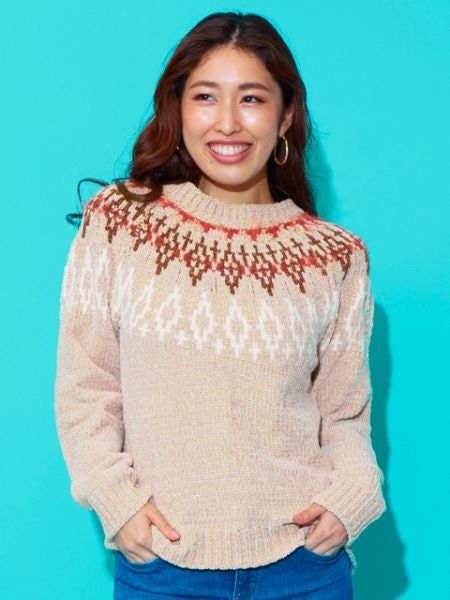 Pull jacquard en maille taupe