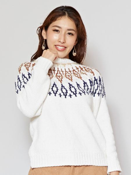 Pull jacquard en tricot taupe-Ametsuchi