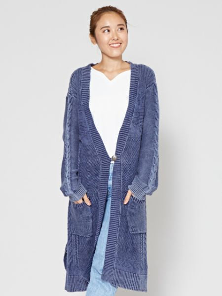 Washed Cotton Knit Long Cardigan-Cardigans & Outerwear-Ametsuchi