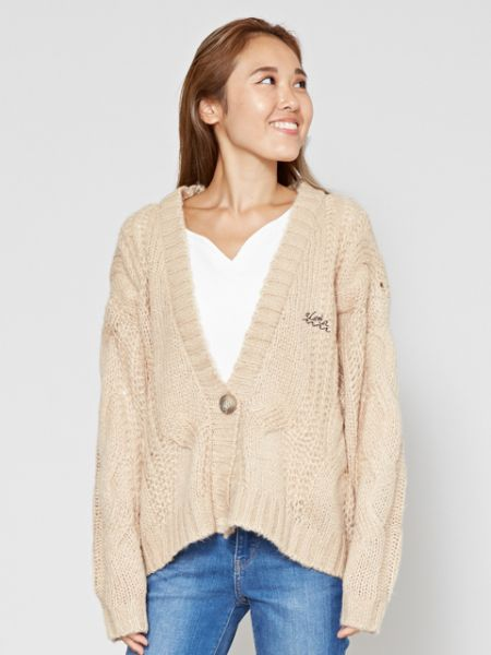 Cable Knit Cardigan-Cardigans & Outerwear-Ametsuchi