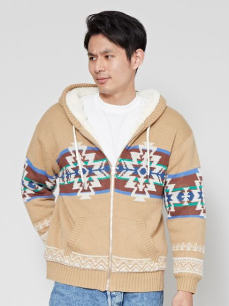 Navajo Pattern Knit Zip up Hoodie-Tops-Ametsuchi