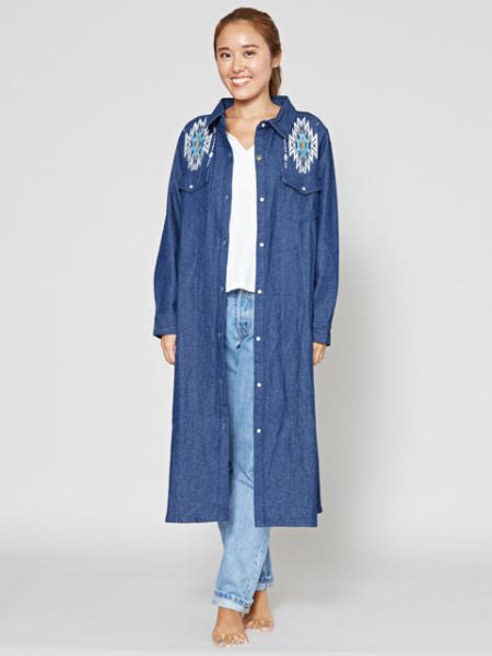 Navajo Embroidery Denim Shirt Dress