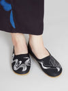 TSURU Embroidery Flats Pumps -Shoes-Ametsuchi