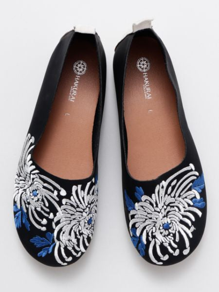 KIKU Embroidery Flats Pumps -Shoes-Ametsuchi