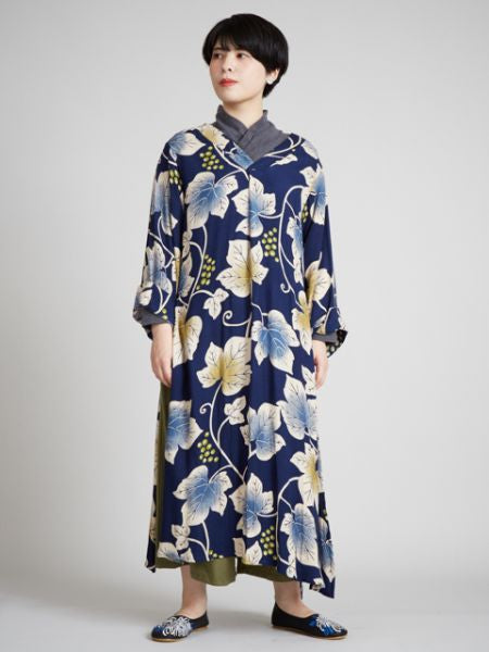 Grape Leaf Pattern KIMONO Style Dress