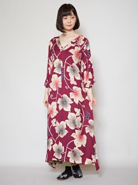 Grape Leaf Pattern KIMONO Style Dress-Ametsuchi