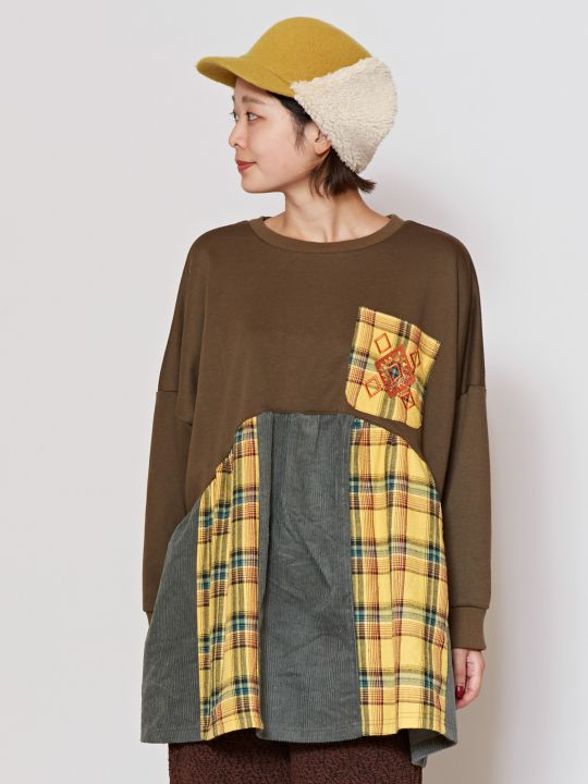 Plaid x Corduroy Patchwork Tunic Top