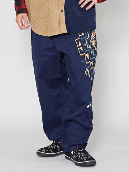 Navajo Pattern Embroidered Work Pants-Ametsuchi