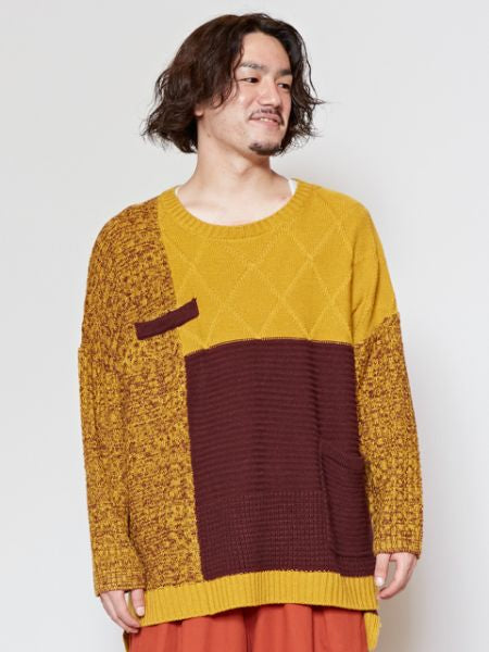 Pull en tricot patchwork