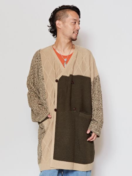 Patchwork Knit Long Cardigan-Ametsuchi