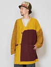 Patchwork Knit Long Cardigan
