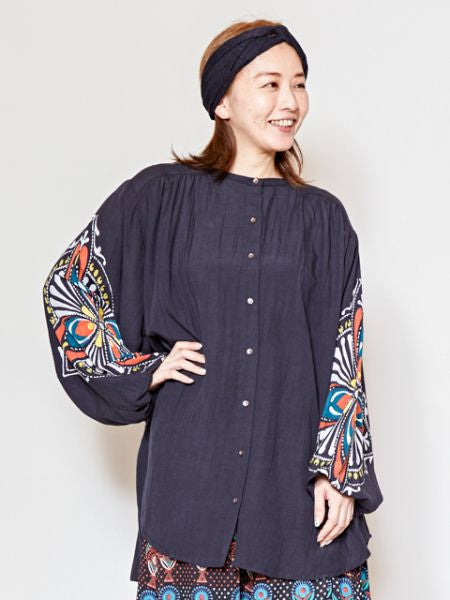 Exotic Tile Pattern Collarless Shirt-Ametsuchi