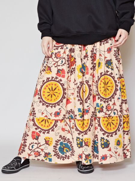 Uzbek Pattern Inspired Long Skirt-Ametsuchi