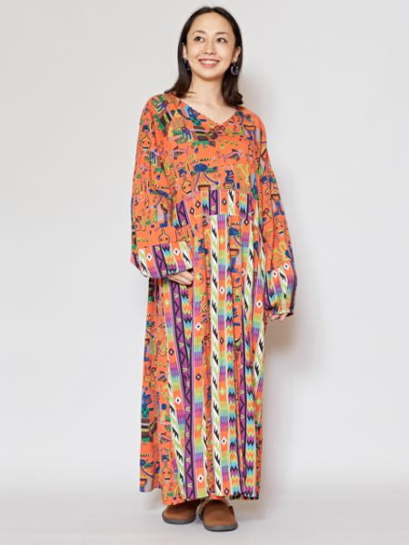 Native American Motif V Neckline Dress-Ametsuchi