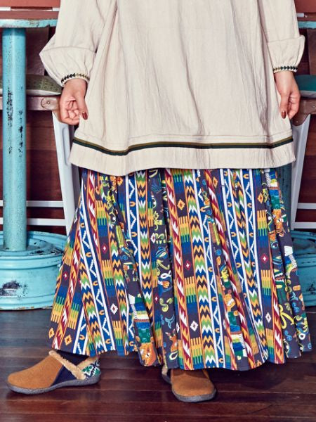 Native American Motiv Long Skirt-Ametsuchi