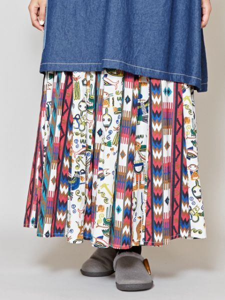 Native American Motif Long Skirt-Ametsuchi