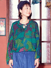 Retro Pattern Balloon Sleeve Top-Tops-Ametsuchi