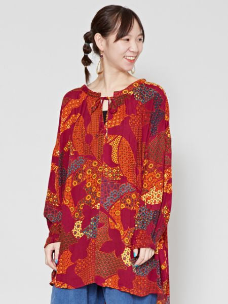 Retro Pattern Balloon Sleeve Top