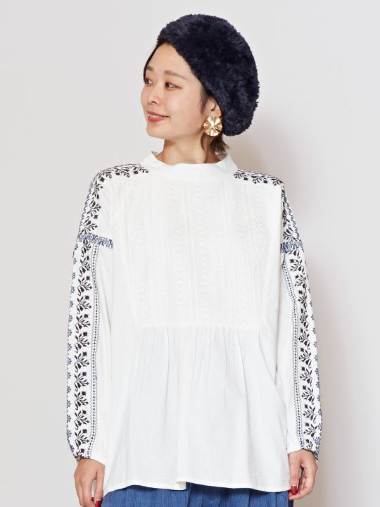 Embroidered Balloon Sleeve Blouse-Ametsuchi